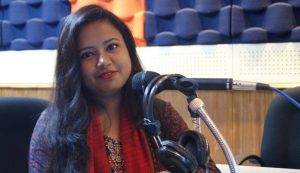 Presenter of Sonchary programme Tanjina Akter.